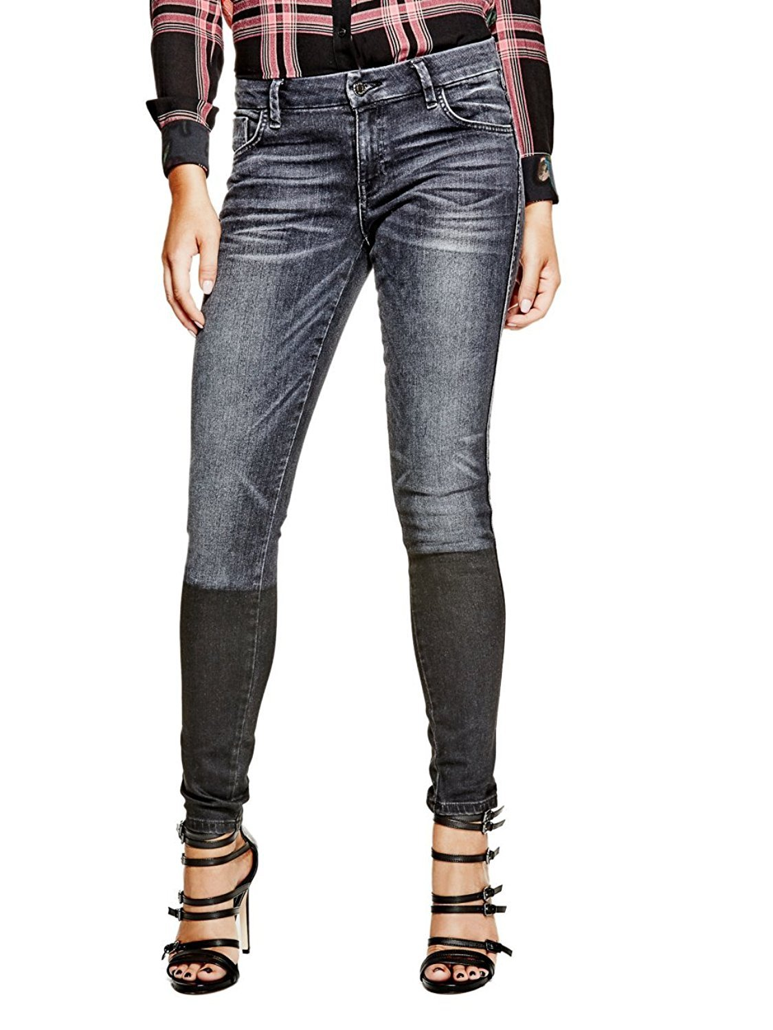 Guess Women's Shape Up Skinny Jeans (24, Washed Black Tonal)