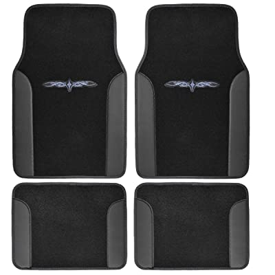 BDK MT-201-BK Tattoo Black Fresh Carpet Floor Mats, Color Tribal Design Vinyl Trim for Car Sedan Truck SUV, Front & Rear Set of 4 Universal Fit: Automotive