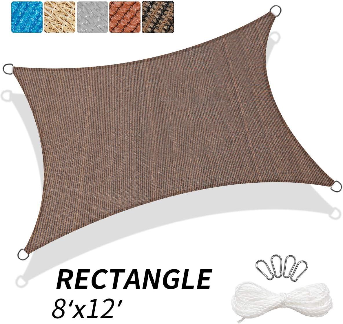 KITADIN 8 x12 Sun Shade Sail Rectangle Brown UV Block Awning Shelter Canopy for Outdoor Patio Garden Backyard