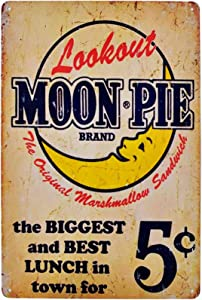 Flytime Lookout Moon Pie The Biggest and Best Lunch in Town for 5 Cent Tin Signs Vintage Coffee Country Home Bar Wall Decor Art Poster Sign 8X12Inch 8X12Inch