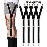 3594165ac32 ANDERK 2 paires Shirt Stays - Porte Jarretelles avec Pinces pour Look  Soigné et Intelligent pour