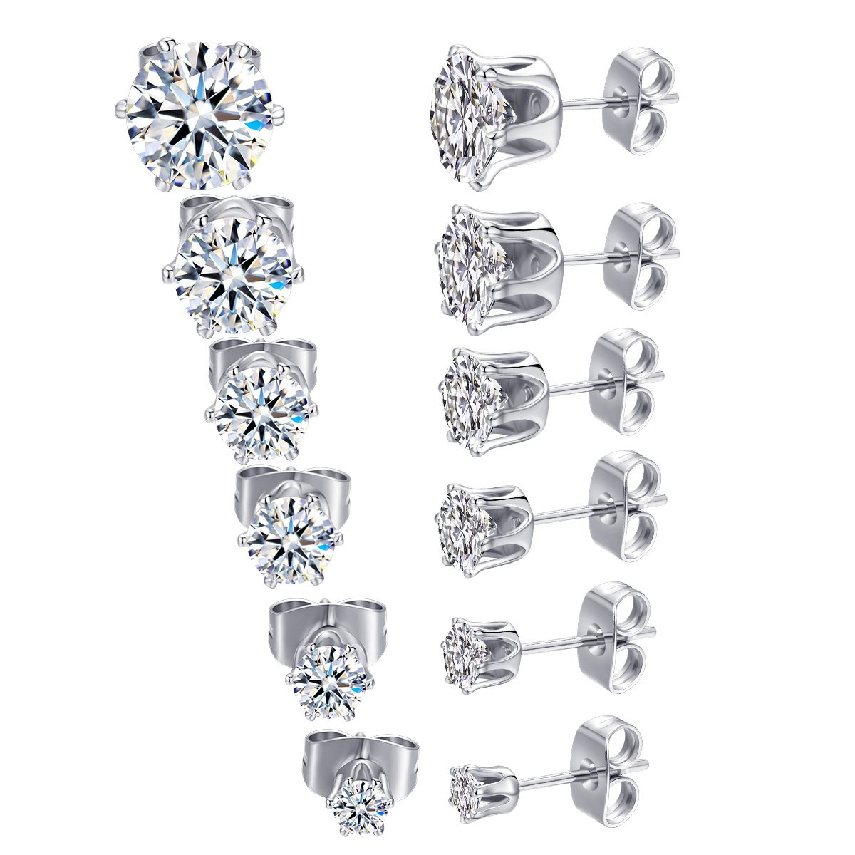 MDFUN 18K White Gold Plated Round Clear Cubic Zirconia Stud Earring Pack of 6 Pairs 6 Pairs