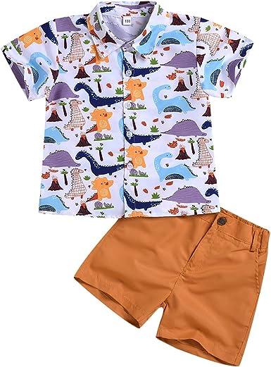 Borlai Ropa de verano para niños y niñas, lindas camisas de dibujos animados, 2 piezas con estampado de animales, pantalones cortos, trajes de moda ...