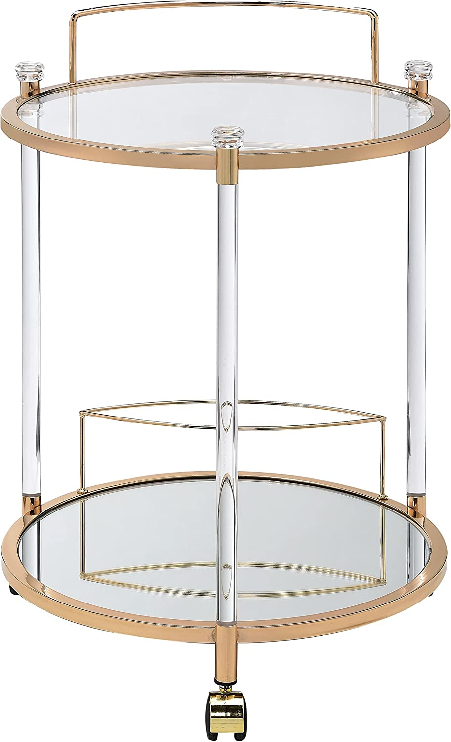 ACME Furniture Acme Todd Serving Cart, Clear Glass Gold, One Size