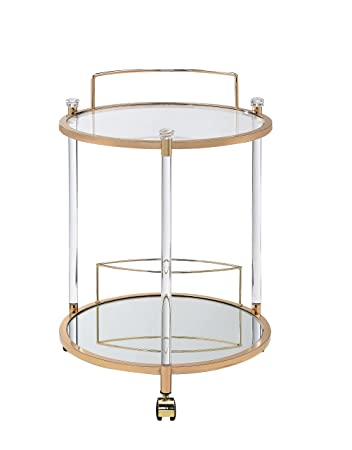 Acme Furniture Acme 98199 Todd Serving Cart, Clear Glass Gold, One Size