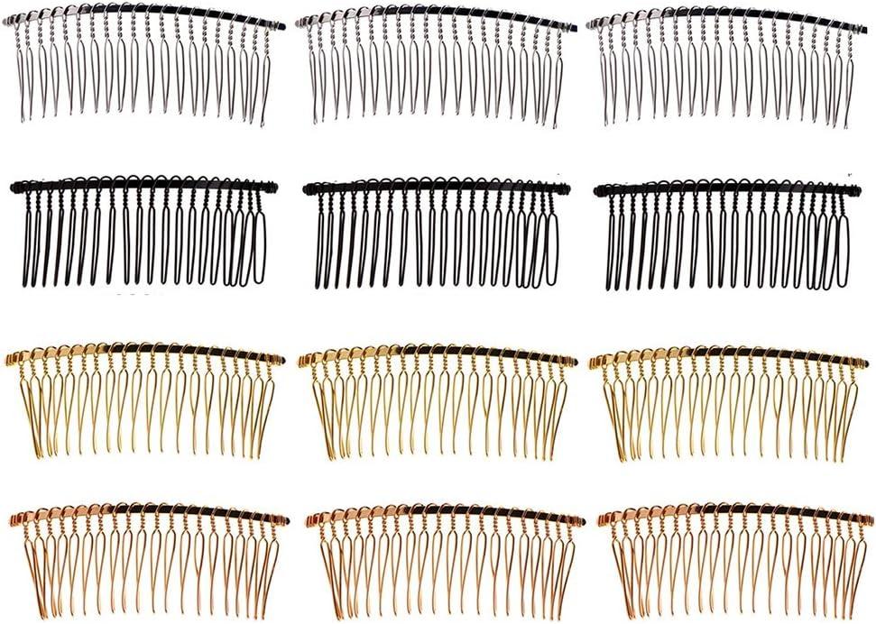 Ziyero 12 Tabletas DIY Metal Peine del Pelo Dientes Nupciales Accesorios para El Cabello De Moda Metal Peines Nupciales del Pelo Velo De Novia Lado Peine Apto para Bodas, Fiestas, Celebraciones, etc.