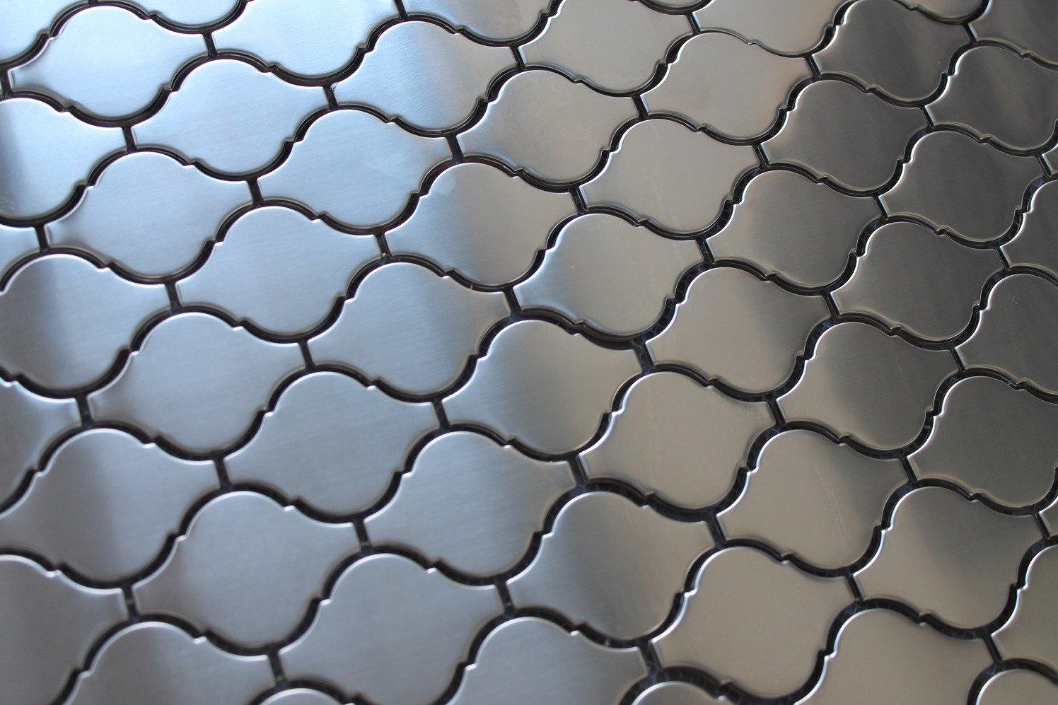 10 Square Feet - Stainless Steel Arabesque Mosaic Tiles