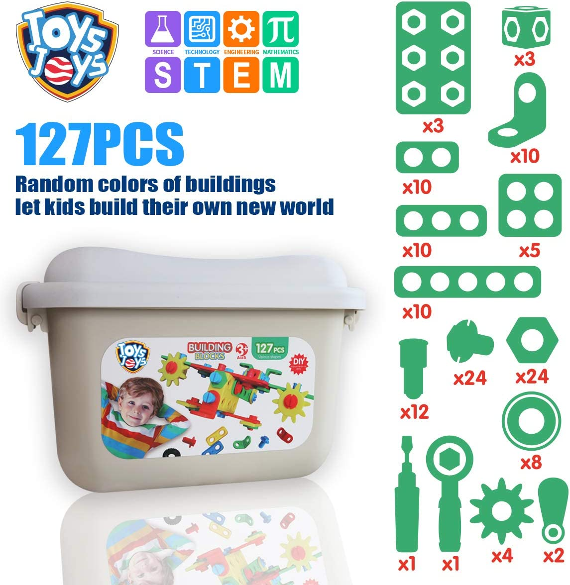 JOYS JOYS STEM Kit for Kids 127 Piece Building Toy Blocks Educational Toys Construction Toy Set for Boys /& Girls