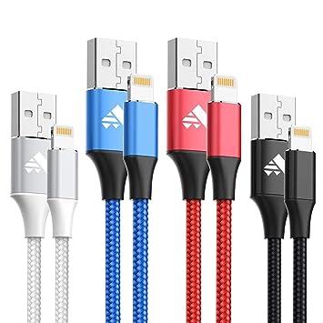 Cable iPhone 4Pack 1M Cable Lightning Cargador iPhone Garantía de Nylon Trenzado Compatible con iPhone XS MAX XR X 8 Plus 7 Plus 6S 6 Plus 5 5S 5C SE ...