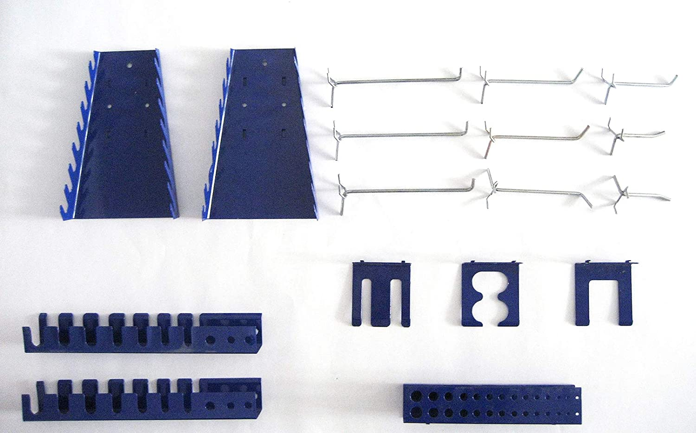 Haken und Halter-Set Werkzeughalter f/ür Werkzeugwand Lochwand 17-teilig blau