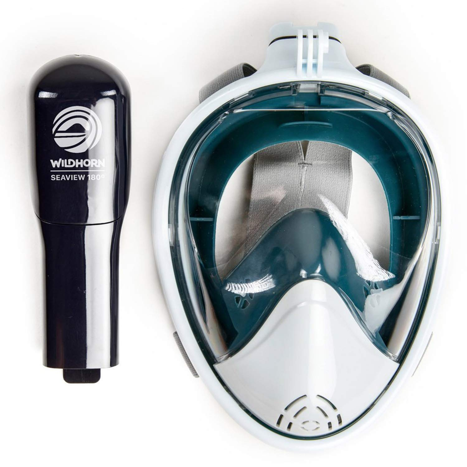 Seaview 180 Degree Panoramic Snorkel Mask- Full Face Design,Panoramic White / Teal,Small/Medium by WildHorn Outfitters (Image #5)