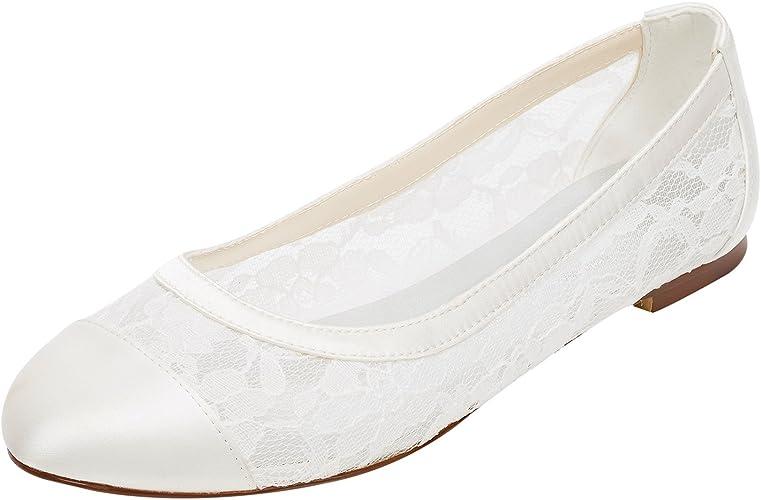 Emily Bridal Lace Wedding Shoes Flat