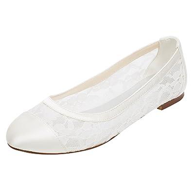 Emily Bridal Spitze Hochzeit Schuhe Flache Elfenbein Pumpen Runde
