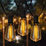 Spacenight Outdoor String Lights 30ft with 25+2 Spare LED Filament Bulbs, Dimmable Shatterproof Waterproof, for Indoor/Outdoo