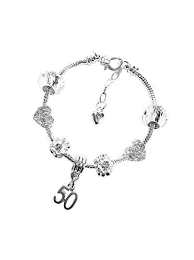 9c32f640b 50th BIRTHDAY Silver Charm Bracelet, Silver, White, Crystal, With  Complimentary Gift Box, Jewellery for Women, Girl's.: Amazon.co.uk:  Jewellery