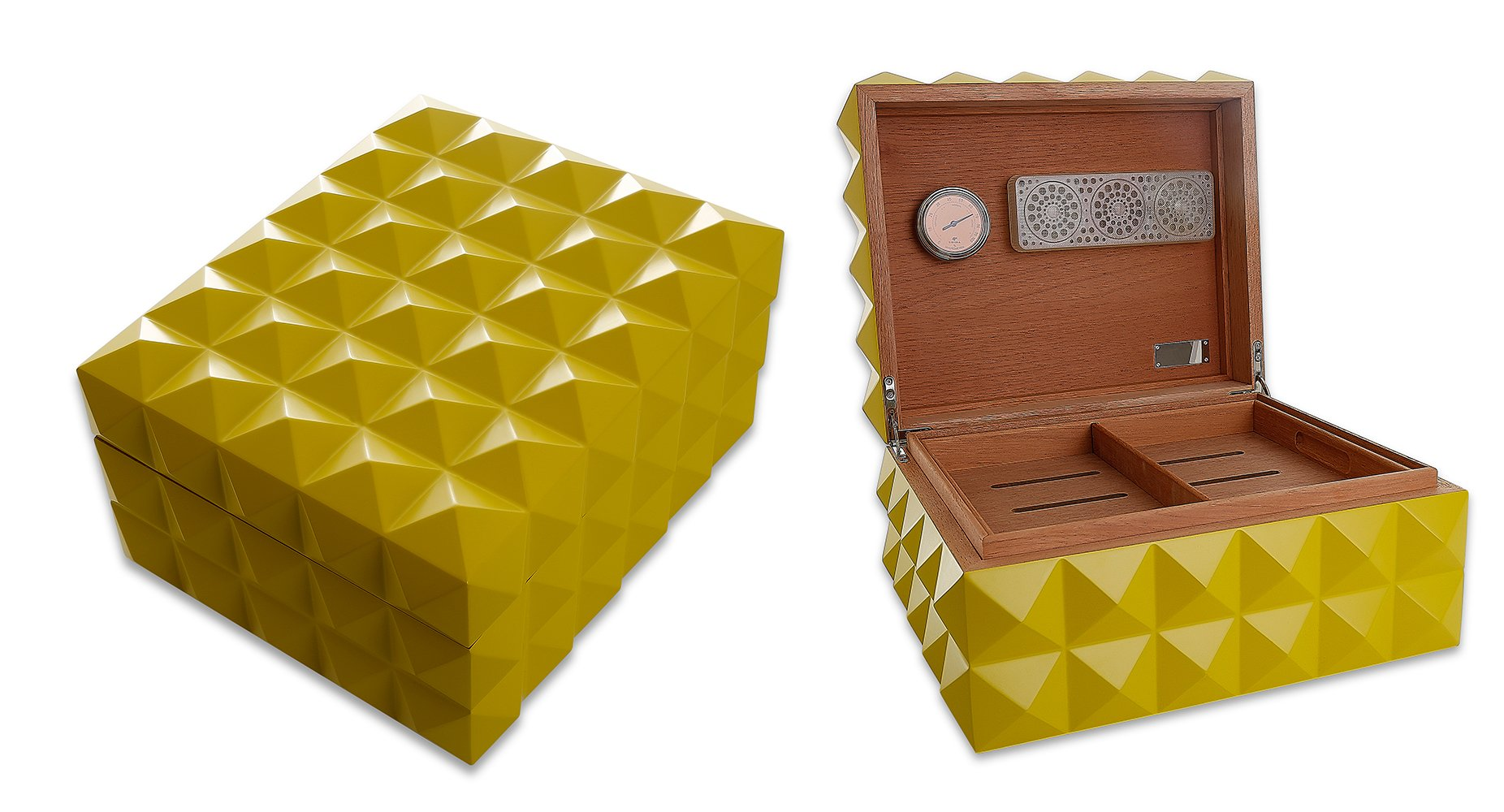 Capo Lily Cigar Humidor Case with Humidifier and Hygrometer, Yellow, Spanish Cedar Wood (Holds Up to 100-125 Cigars)