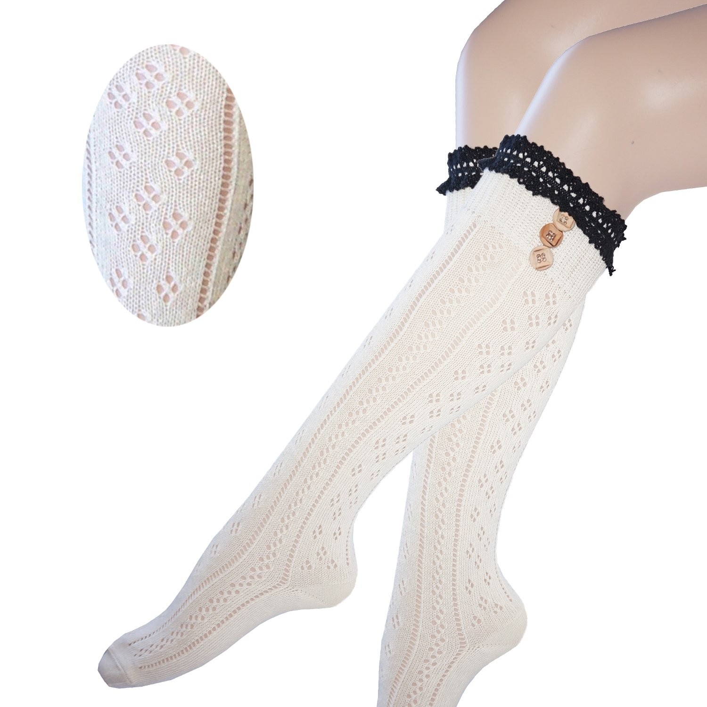 Mujeres rodilla calcetines altos con el cordón de algodón y botones ...