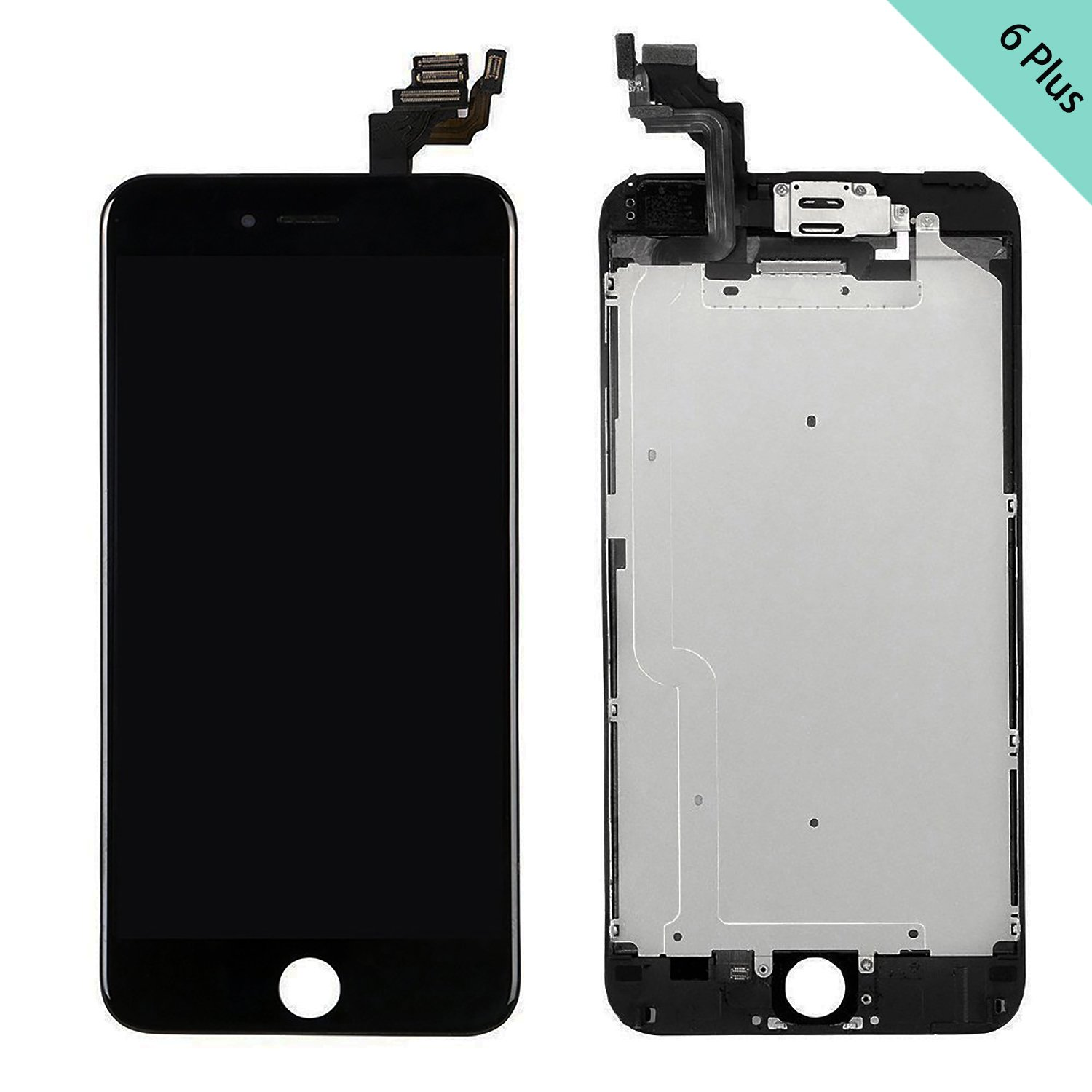 Front Camera Screen Replacement for iPhone 6 Plus - LCD Display Touch Digitizer Frame Assembly Set with Proximity Sensor Repair Tools and Instruction Tempered Glass White Earpiece 5.5