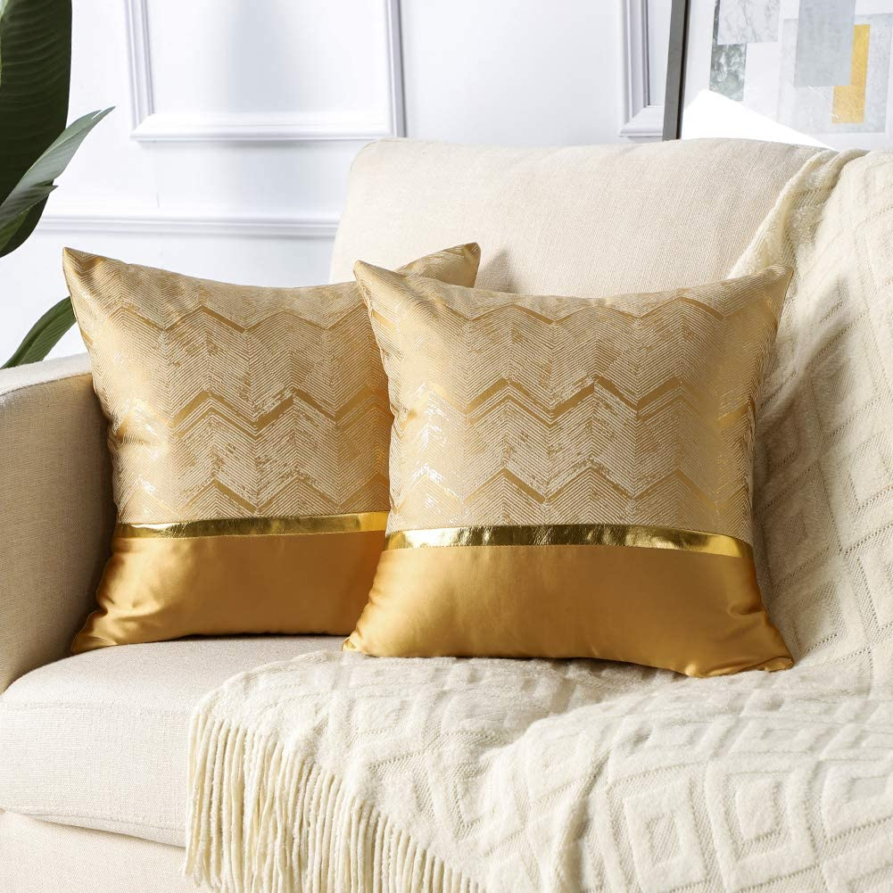 Soleebee Set of 2 Throw Pillow Covers Wavy Gold Wire Polyester Home Decorative Pillowcase Covers Couch Throw Pillow Case for Sofa Bed Car 18x18 Inch (Gold Silk Yellow)
