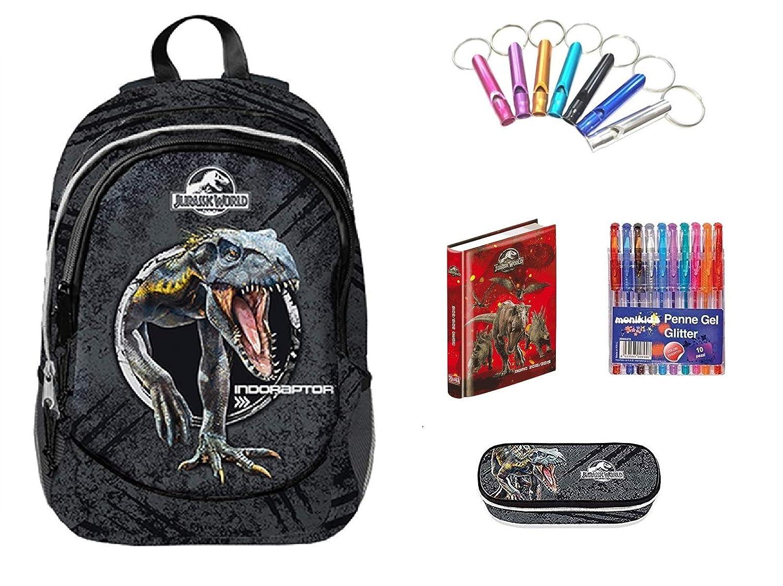 Jurassic world Omaggio portachiave Fischietto DIARIO Rosso Omaggio 10 Penne Colorate Astuccio Zip Zaino Scuola Double by Gut 2019