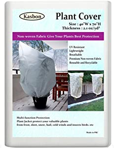 """Kasbon 2 Pack Plant Covers Freeze Protection & Plant Frost Blanket - 2.1 oz/yd² 40""""x 70"""" for Frost Protection, Reusable Shrub Jacket with Drawstring (2 Pack)"""