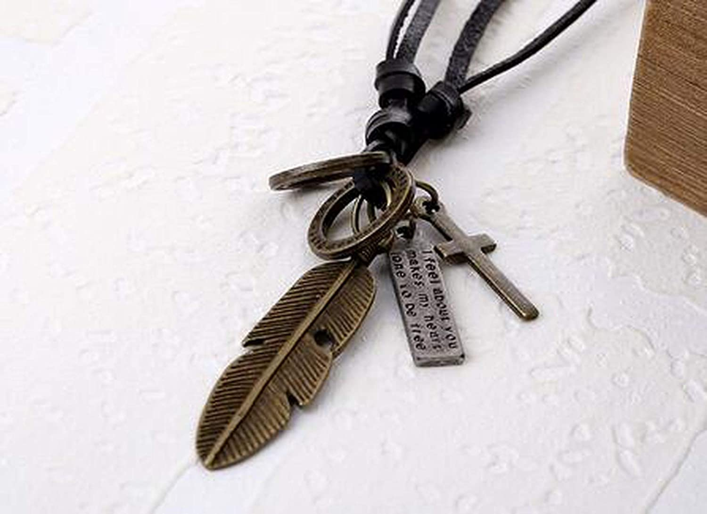 Fashion Punk Leaf Feather Cross Leather Pendant Necklaces Rock Vintage Retro Rope Chain Necklace