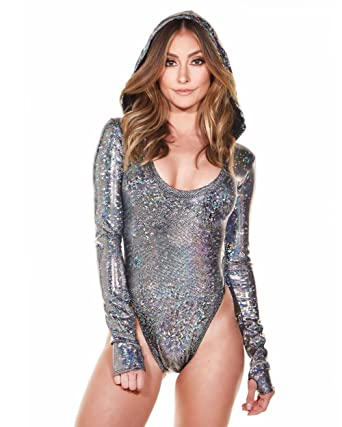 66860886b82 Amazon.com: iHeartRaves Silver Hologram Hooded Longsleeve Astrid High Cut  Bodysuit (Medium/Large): Clothing