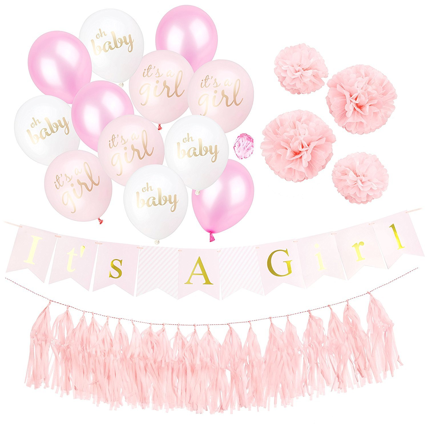 Baby Spirit It's a Girl Baby Shower Decorations | It's A Girl Banner and Mix of 12 It's A Girl, Oh Baby, Plain Balloons | 4 Tissue Paper Pom Poms and Tassels | Pink and Gold Decor Party Supplies