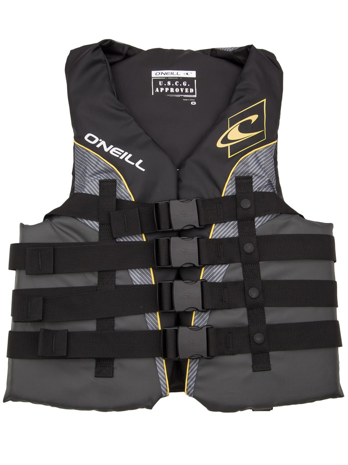 O'Neill Mens Superlite USCG Life Vest M Black/Graphite/Smoke/Yellow (4723) by O'Neill (Image #1)