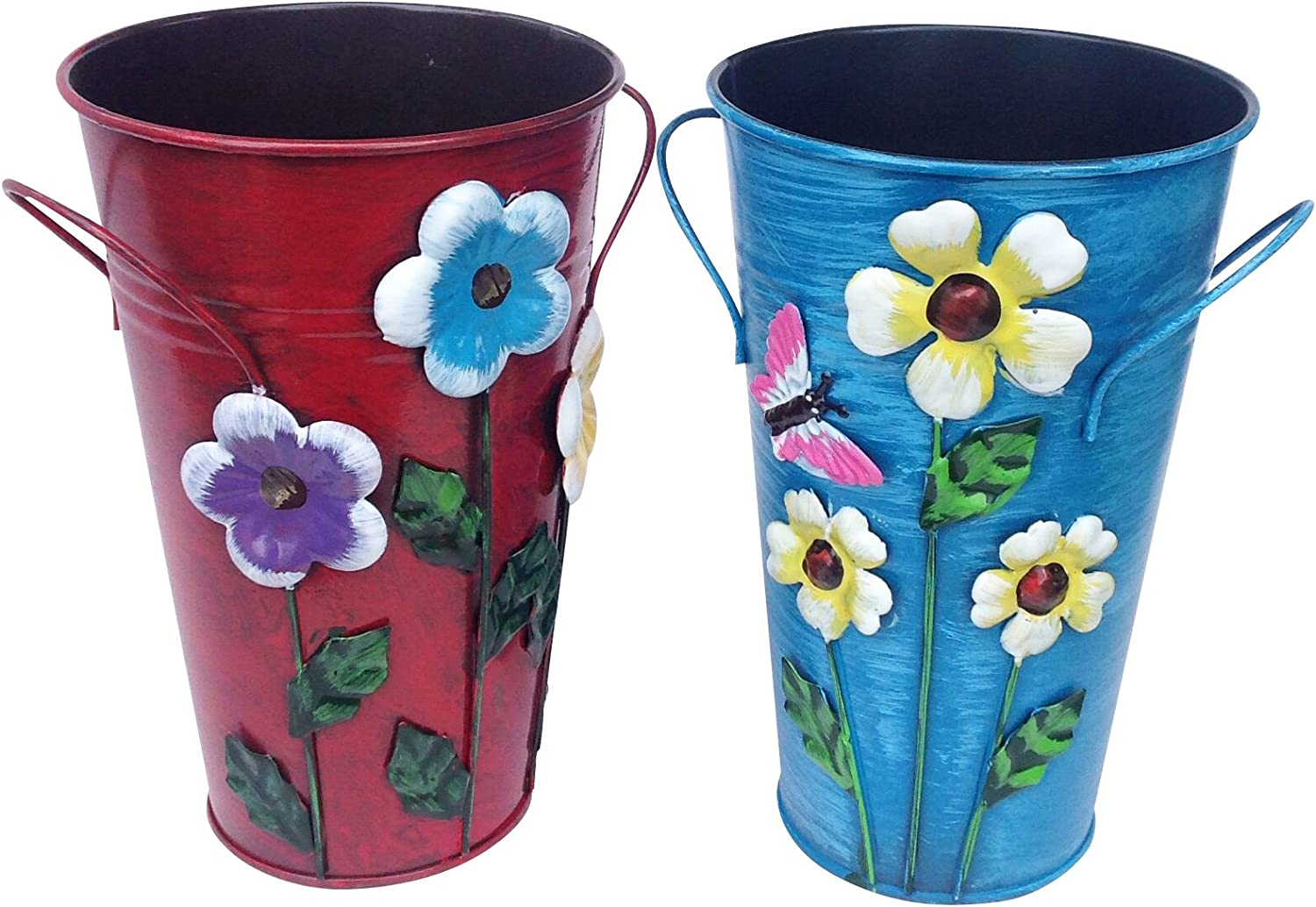 """Set of 2 Handmade Iron Vase or Planter or Holder with Raised Flowers Ladybug Butterfly Dragonfly Bee Birds (Red Floral and Blue Butterfly) Size 61/2"""" Tall X 4"""" Diameter Top X 3"""" Diameter Base"""