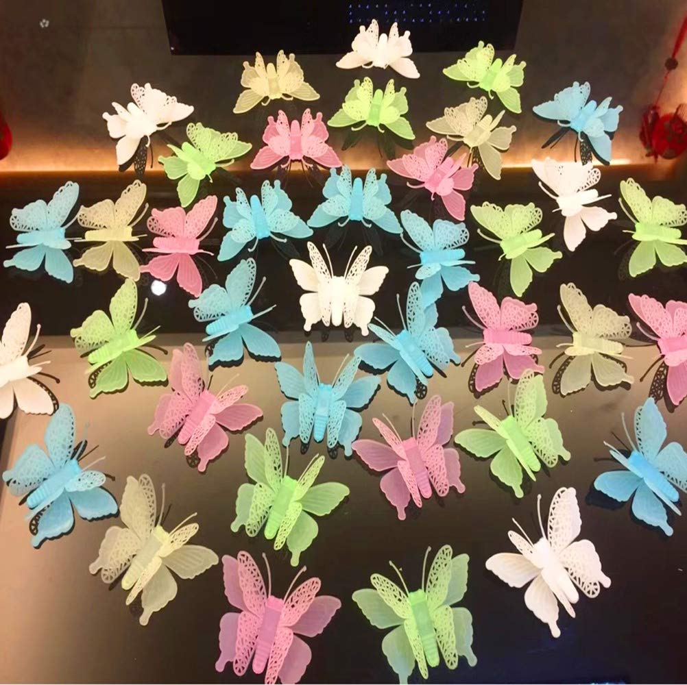 GBSTORE 6 pcs Mixed Color 3D Butterfly Glow in Dark Luminous Fluorescent Plastic Wall Sticker for Kids Baby Room Bedroom Ceiling Home Decor