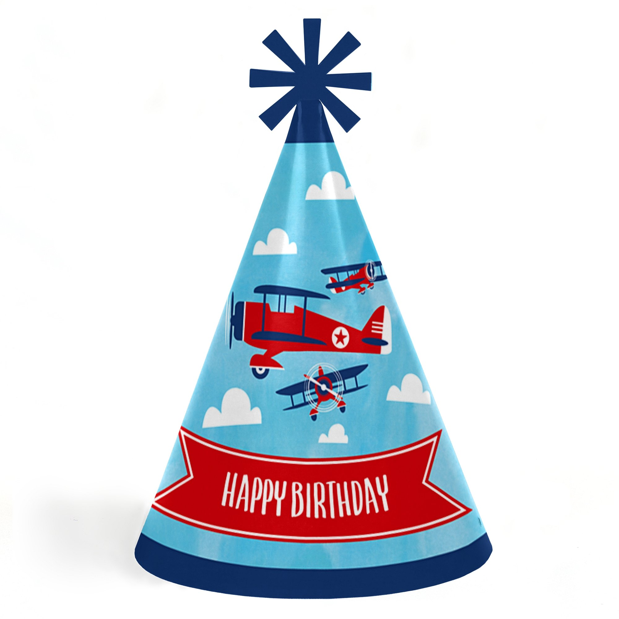Taking Flight - Airplane - Cone Happy Birthday Party Hats for Kids and Adults - Set of 8 (Standard Size)
