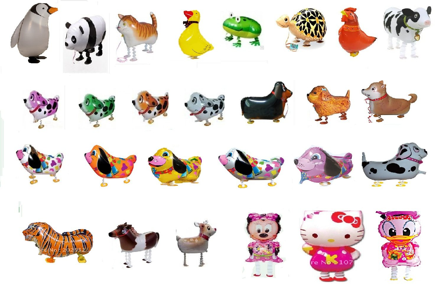 SET OF 100 WALKING ANIMAL BALLOON PETS AIR WALKERS, MIXED