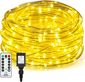 2 Pack 66FT Led Rope Lights Christmas Lights Outdoor ,132FT Total 335 LED Waterproof Clear Tube String Lights,8 Modes Remote Control Deck Lights with Timer,Christmas Party Decor (Warm White)