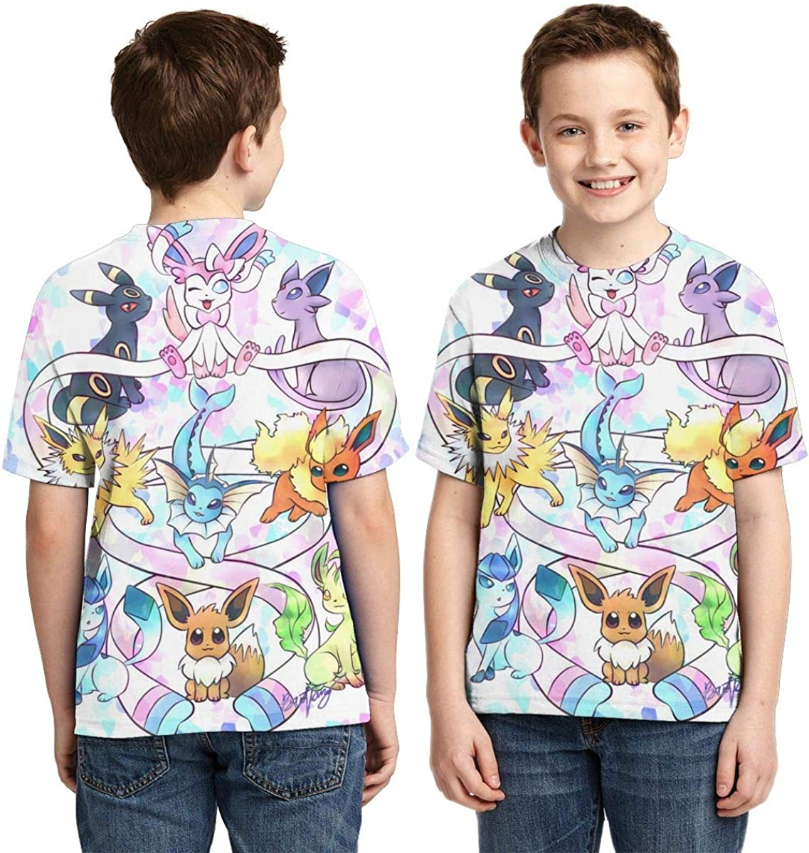 Ffrogont45 /Î/•evee Evolution Boys Print T-Shirt Teens Casual Short Sleeve