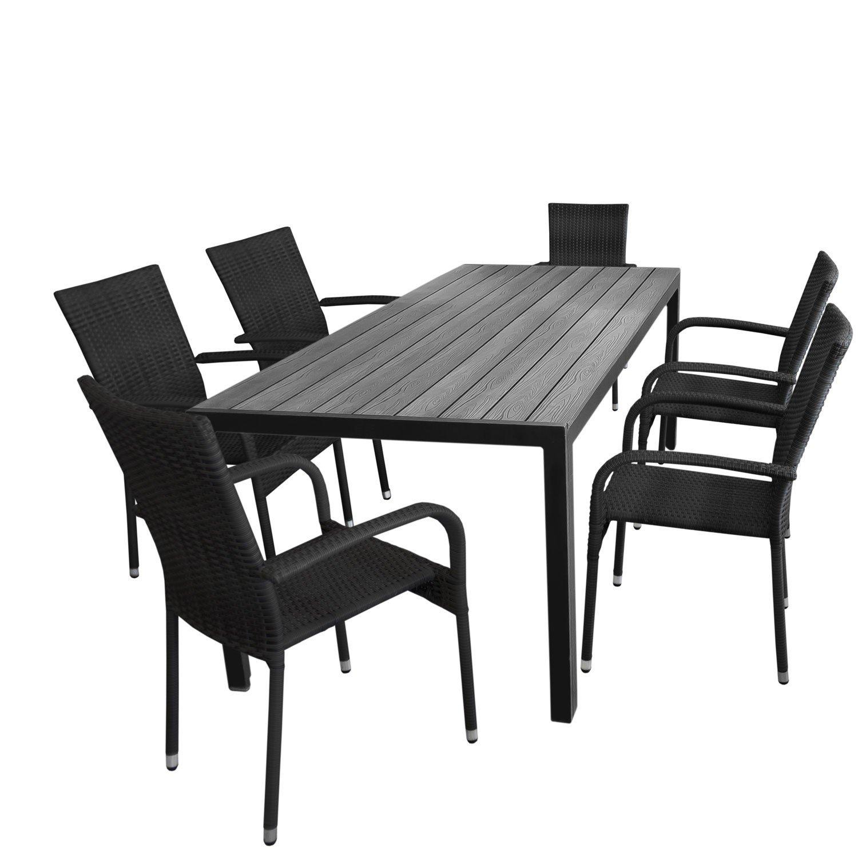 7tlg Gartengarnitur Aluminium Gartentisch Tischplatte Polywood