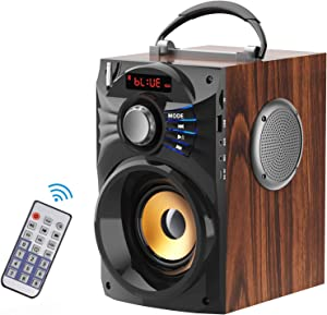 Bluetooth Speakers Portable Wireless Subwoofer Stereo Bass Speakers Support Remote Control FM Radio TF Card LCD Display Wood Grain Design Speaker for Home Party Phone Computer TV