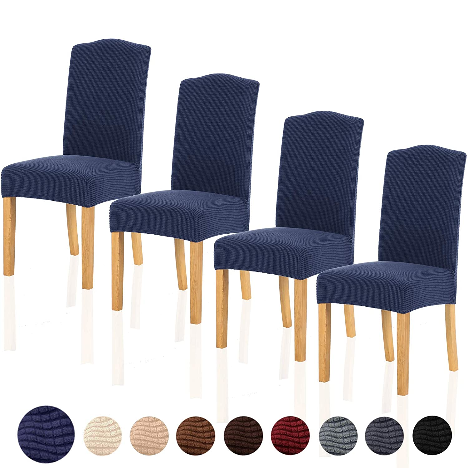 TIANSHU Stretch Chair Cover for Home Decor Dining Chair Slipcover (4 Pack, Navy Blue)