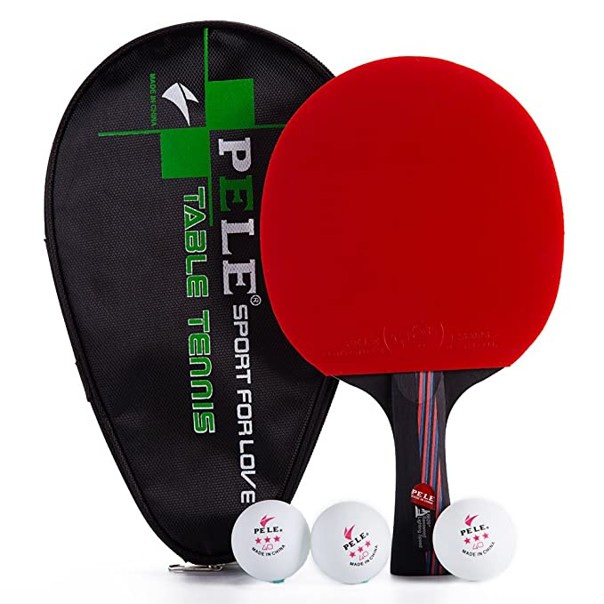Nanocarbon Table Tennis Bat Pingpong Racket With Free Case And 3 Ballssweat Antiskid Long Handle