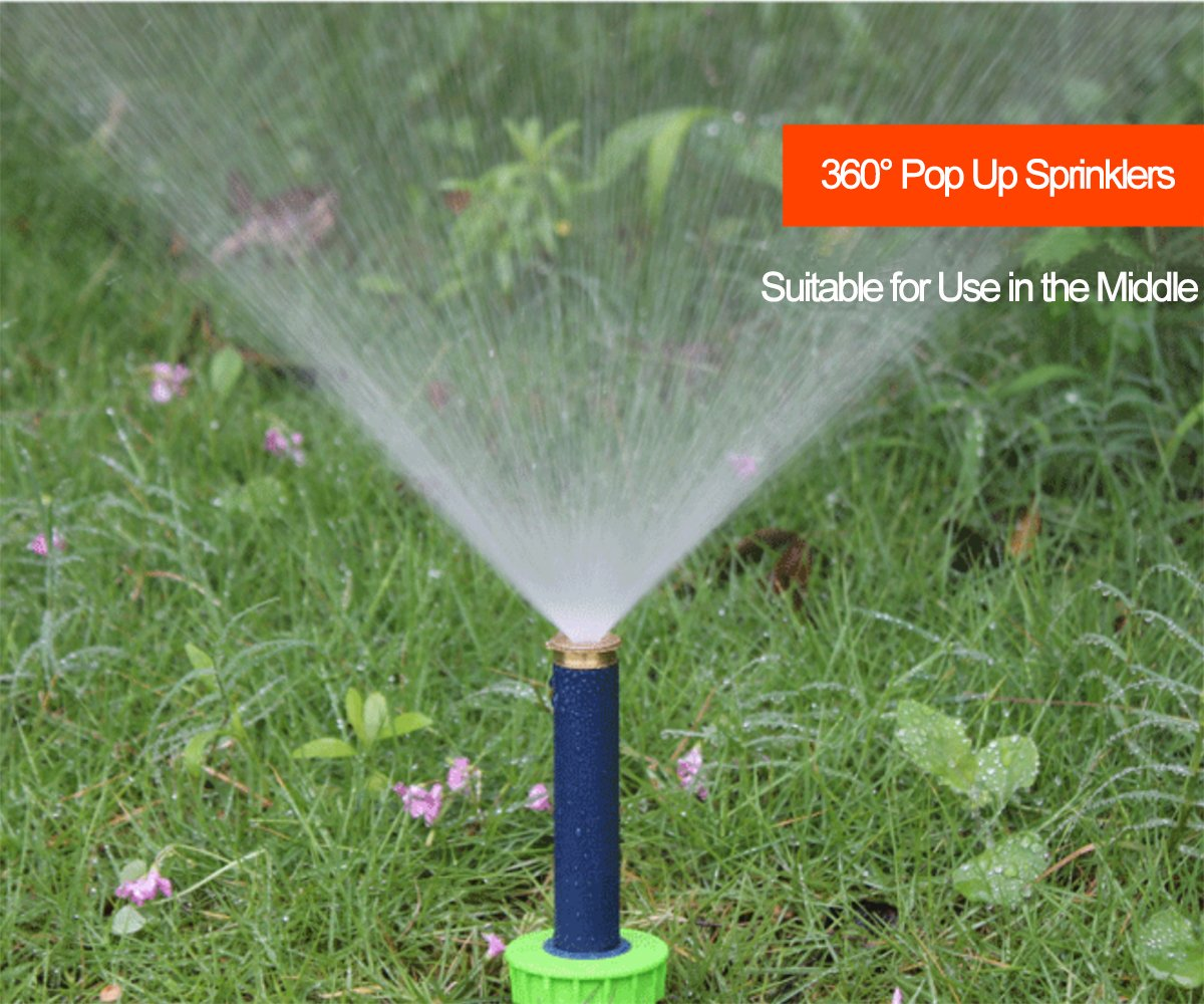 Green 5 Pack Garden 4pcs 360 Degrees Sprinklers + 1pc 180 Degrees Sprinklers pop up Irrigation Sprinkler for Lawn Yard Planter beds ASNOMY 10cm Pop-up Sprinklers with Brass Nozzle