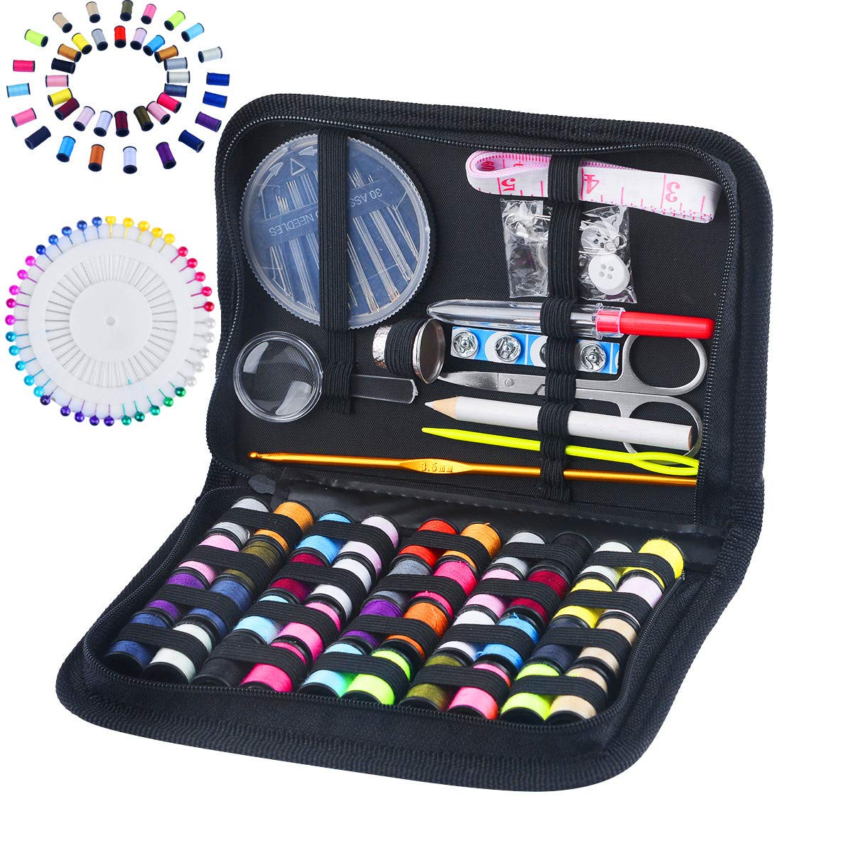 Southsun Mini Sewing Kit for Kids, Travel, Emergency, Sewing Supplies with Scissors, Thimble, Thread, Needles, Tape Measure, Carrying Case and Accessories