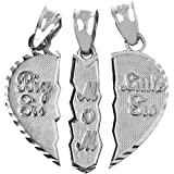 Mother's Jewelry Textured Sterling Silver 3-Piece Mom and Daughters Breakable Heart Necklace Pendant
