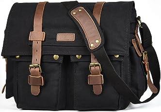 LUXUR Military Satchel Messenger Bag Vintage Canvas Travel Bag for 15 Inch Laptop