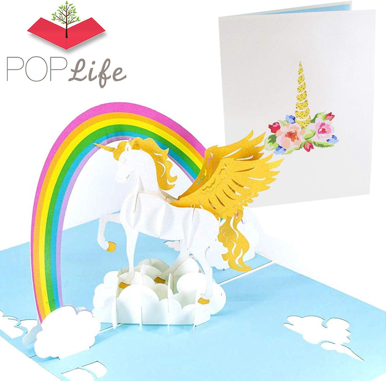 PopLife Cards Unicornio y arco iris popup tarjeta de felicitación para todas las ocasiones día de las madres, hija feliz cumpleaños, hija regalo amantes de los animales, tema del arco iris, 3d