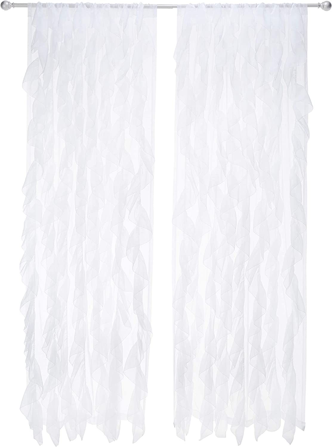 """Sweet Home Collection 2 Pack Window Panel Sheer Voile Vertical Ruffled Waterfall Curtains, 96"""" x 50"""", White"""
