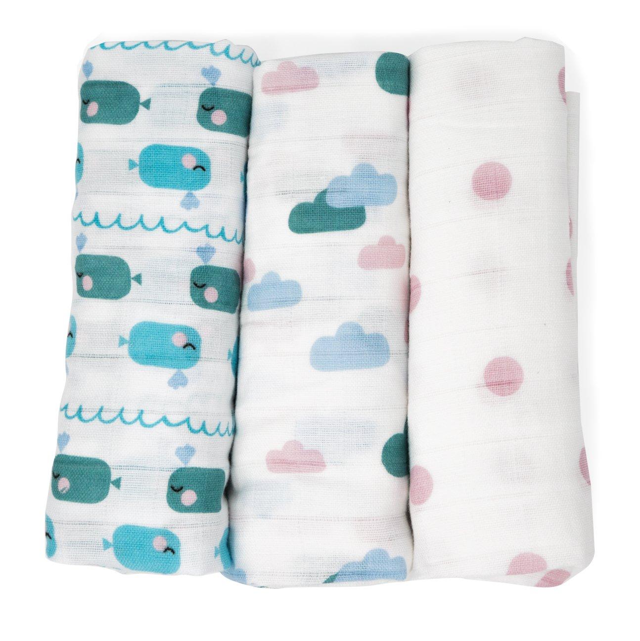 Muselinas para bebés de Emma & Noah, paquete de 3, 100% algodón,