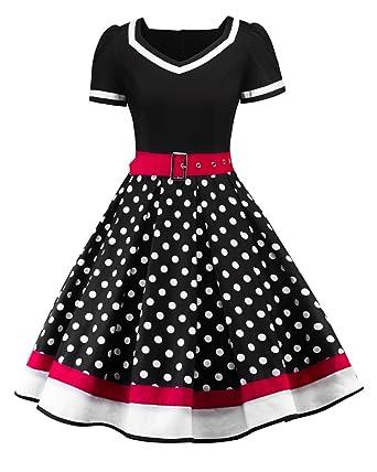 02094331378 ZAFUL Woman Vintage Dress Polka Dot Printing Short Sleeve Party Cocktail  Dress (S