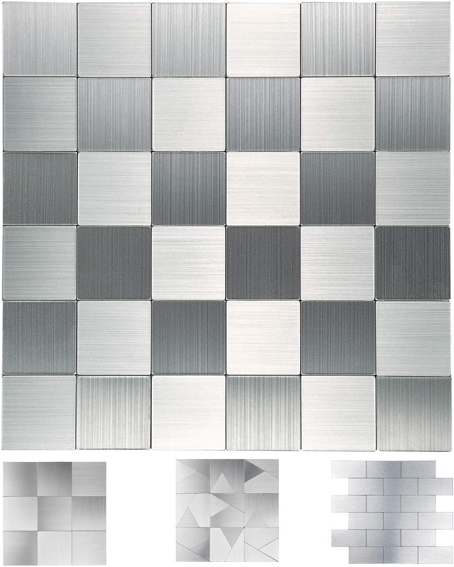 Art3d Stainless Steel Backsplash Peel and Stick for Stove Backsplash, 10-Sheet of 12x12inches, Covering 10 Sq.ft, Brushed Silver