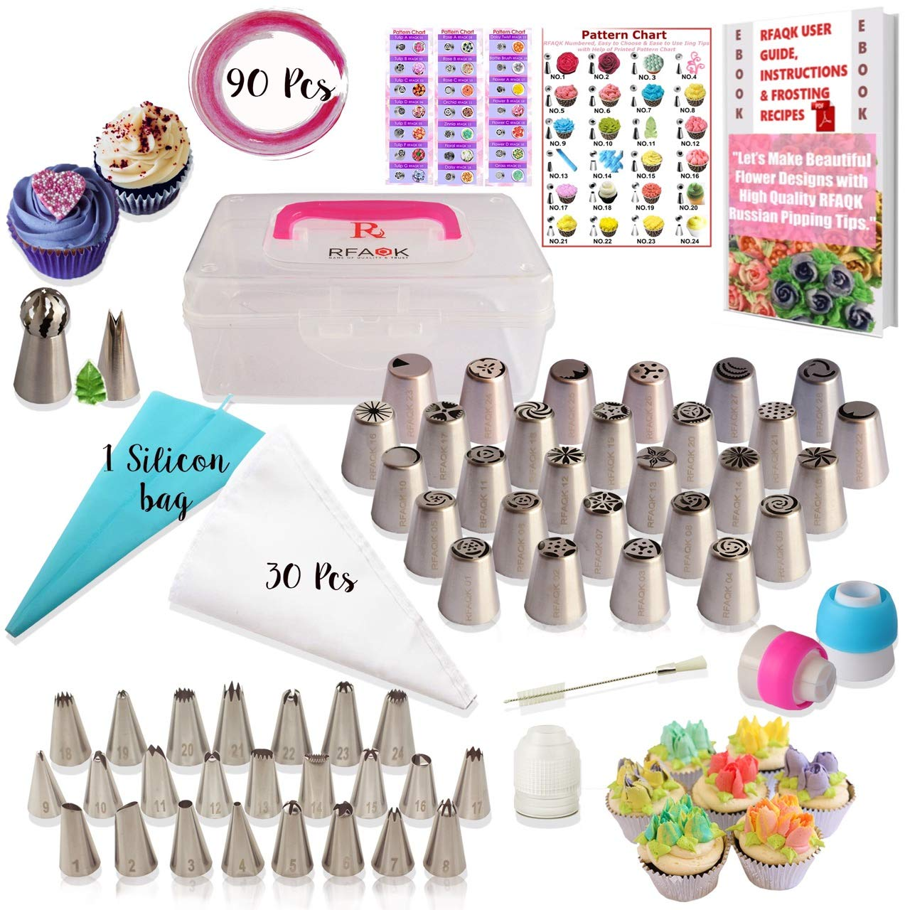 RFAQK- 90 Pcs Russian piping tips set with storage case – Cake decorating supplies kit – 54 Numbered easy to use icing nozzles (28 Russian + 25 Icing + 1 Ball tip) – Pattern chart, Ebook User Guide