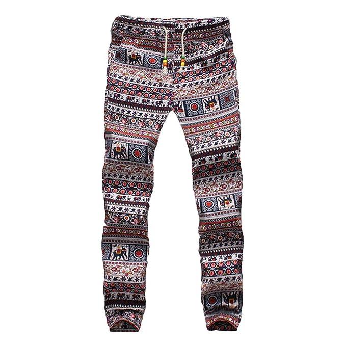 Hombre Moda Pantalones Estampado Floral Holgado Pantalón de Chándal con Cordón y Bolsillo Casuales Largos Jogger Corredor… wOsVJNR